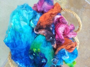 AT - Mixed Dyed Fibers with blues, oranges, purples
