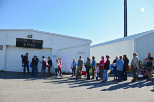 Lining up for the Fleece Sale Early Saturday Morning