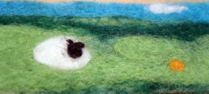 LE - FO - Detail Cheviot Hills, commisioned needel felting